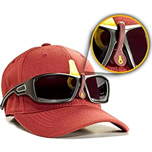LidsLash Magnetic Sunglass Holder for hats - Keep your sunglasses High, Tight, and Secure on any hat brim - MRN / GLD