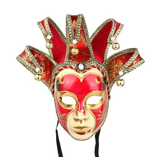 YUFENG Hand Painted Full Face Jester Jolly Joker Red Venetian Masquerade Wall Mask Carnival Costume Fanshaped Mask Mardi Gras