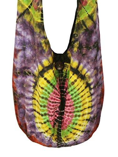 Design By Jingle Tie Dye Sling Crossbody Shoulder Bag Purse Cotton Hippie Cotton (JJ purple)