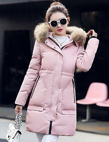 Chic Pink Padded Sleeves Solid Street XL Going Women'S Blushing Coat Long Polypropylene ZHUDJ Polyester Regular Out 7EaXqxZ
