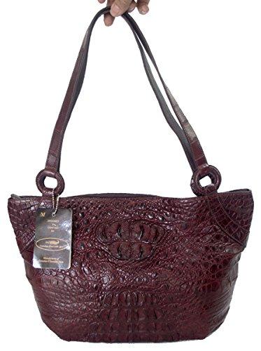 e Skin Womens Shoulder Bag Tote Handbag (Shiny Dark Burgundy Red) (Exotic Skin Handbags)