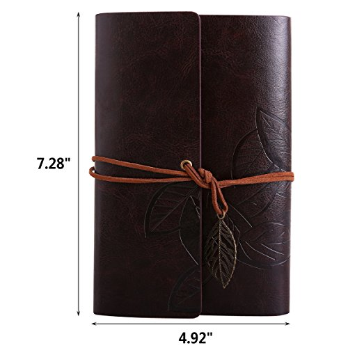 Vintage Leaf Leather Cover Loose Leaf Blank Journal Diary (Blue) - 9