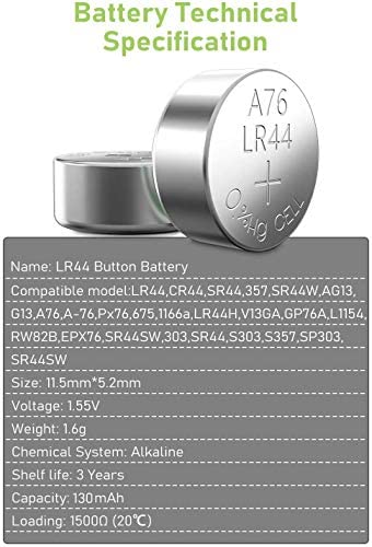 POWEROWL High Capacity LR44 Batteries 40 Pack, AG13 357 303 SR44 Premium Alkaline Battery 1.5V Button Coin Cell Batteries