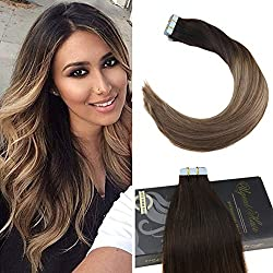 Ugeat 22inch Balayage Tape Extensions Human Hair #1B/8/18 Off Black Fading to Light Brown and Ash Blonde 100% Remy Straight Tape in Real Human Hair Extensions 2.5g20pcs 50g/pack