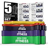 5 Pull Up Fitness Bands Assist Set of Long Resistance Bands. Gym Quality Set of Light Medium Heavy Resistance Bands for Strength Training, Mobility, Stretching, Powerlifting and Pull Up Assistance