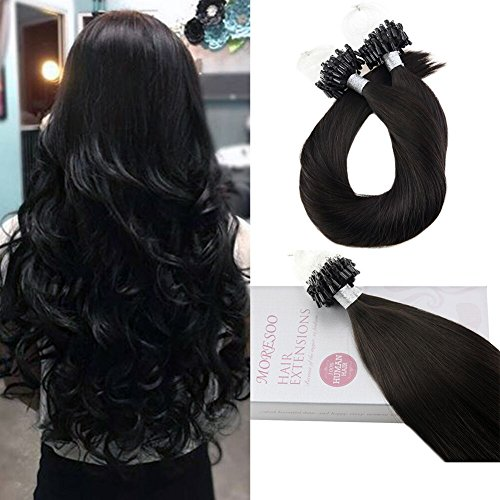 Moresoo 22 Inch Loops Hair Extensions Micro Beads Tipped Straight Off Black #1B Remy Human Hair Extensions Remy Hair In Women Beauty Style 1g/strand 50 strands (Best Selling Hair Extensions)