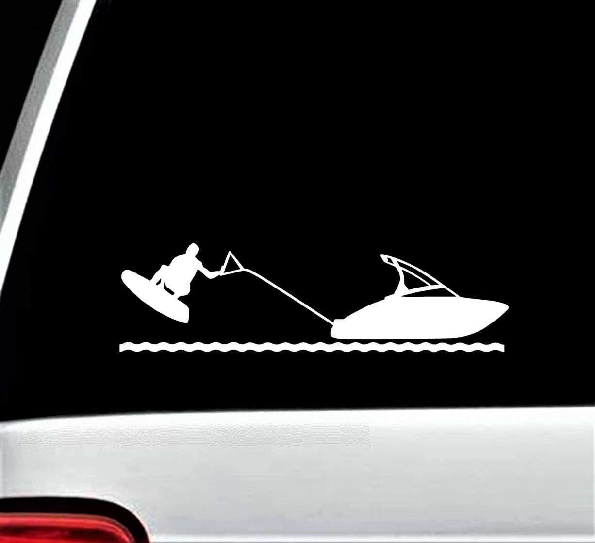 Wakeboard Water Skiing Speedboat Decal Sticker for Car Window 8 Inch BG 432