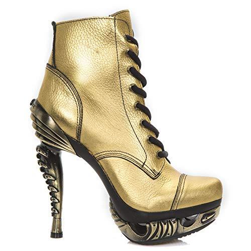 M Pesanti Signore In Oro Punk Tacco Scarpe s3 mag016x New Gotico Delle Donne Pelle Delle Rock 6qywBHyc5