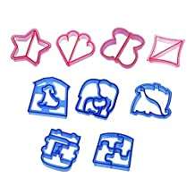 Sandwich Crust Cutter for Kids - Set of 9 Crust & Cookie Cutters - Dinosaurs, elephants, butterflies, five-pointed star, puppy, quadrilateral, puzzles, car, love