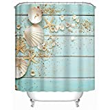 Beach Shower Curtain Uphome Sea Theme Collection Fabric Shower Curtain, Aqua Shell and Starfish on The Beach Heavy Duty Bath Stall Curtain with Hooks Set, Waterproof and Mildew Resistant, 72x72