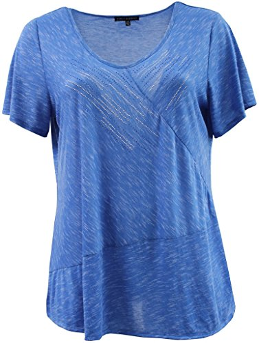 Plus Size Women's Short Sleeve V Neck Rhinestone Blouse Tee T-Shirt Fashion Top Blue 1X (16.034)