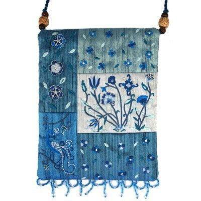 Top Handle Handbags For Women - Yair Emanuel Judaica APPLIQUE EMBROIDERED BAG FLOWERS (Bead Accented Handbag)