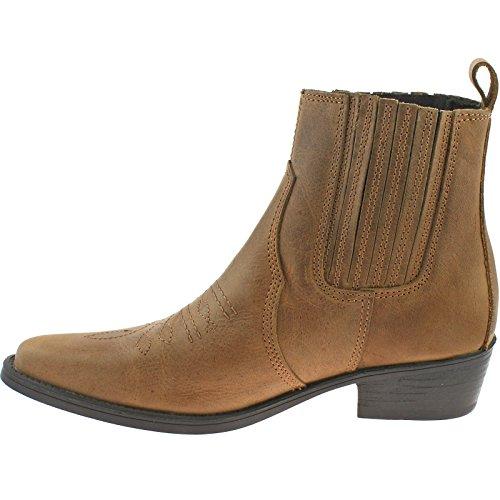 NUEVO Hombre/Hombre Marrón Wrangler SIN CIERRES DE PIEL Pala Vaquero botines. - Marrón - GB Tallas 7-12 - Marron, 46: Amazon.es: Zapatos y complementos