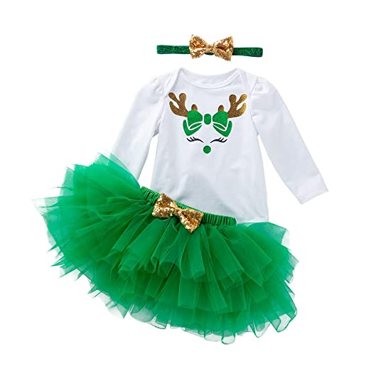 9ab5f3ee3cf Newborn Baby Girls Christmas Outfits Deer Printed Long Sleeve Romper Tutu  Skirts Headband 3Pcs Xmas Clothes
