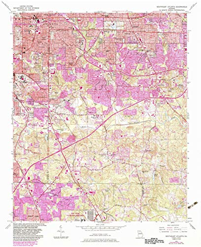 YellowMaps Southeast Atlanta GA topo map, 1:24000 Scale, 7.5 X 7.5 Minute, Historical, 1954, Updated 1983, 27 x 22 in - Polypropylene