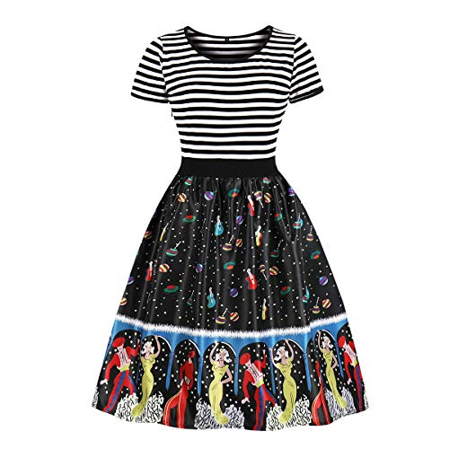 Wellwits Women's Sailor Striped Theater Music Tea Party Vintage Swing Dress S