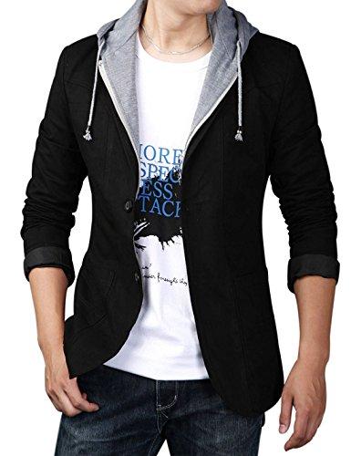 (Yeokou Men's Casual Cotton Slim Two Buttons Hoodie Suit Jacket Blazer Sport Coat (Large, Black))