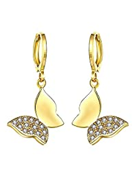 Classic Butterfly Dangle Earrings14K Yellow Gold Plated Fashion Hoop Earrings Women Girls Charm Jewelry