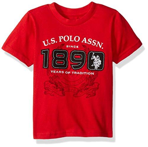 U.S. Polo Assn. Toddler Boy's Short Sleeve Embellished Crew Neck T-Shirt, Engine Red-SIEBB, 3T