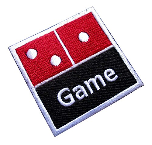 Game Dice Domino Logo Embroidered Iron on Patch Free Shipping