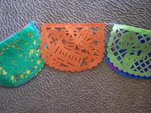 Small Papel Picado Day of the Dead - 10 Banners - 8 Feet Strand - Mexico]()