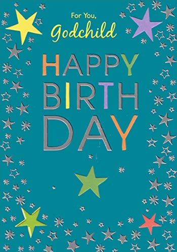 Silver Foil and Die Cut Stars - Designer Greetings Birthday Card for Godchild