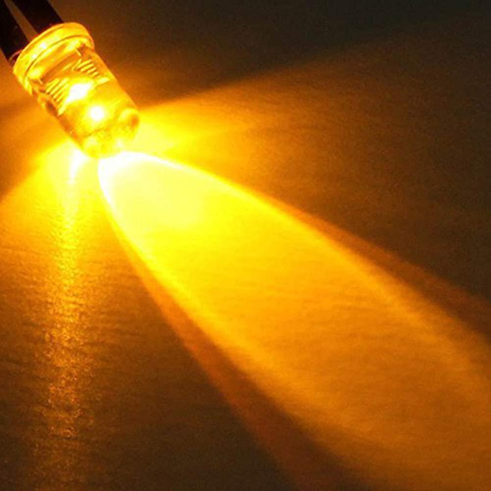 Uonlytech 10 UNIDS 5mm 12V DC LED Diodo Cableado LED Luces Redondas L/ámpara de Bombilla Superior Para DIY Coche Barco Juguetes Partes blanco