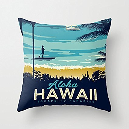- ALOHA HAWAII Pillow Covers Decorative Zippered Square Canvas Throw Pillow Case Cushion Covers 16 x 16 for Couch