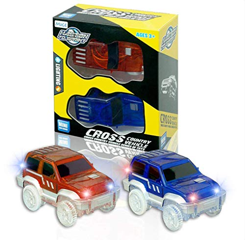 MIGE Car Track, Light Up Jeep Toy Car (2-Pack),Multicolord flashing lights,Fits Most Racing Track Accessories,Perfect for Boys and Girls Killing time(Blue and Red)