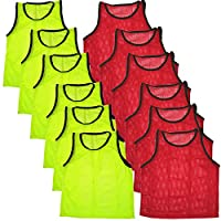 BlueDot Trading Bundle of 6 Red & 6 Yellow Adult Team Sports Scrimmage Vests Pinnies (12 Total)