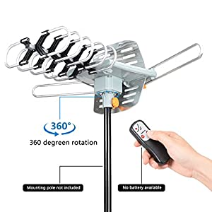 Outdoor Amplified HDTV Antenna Digital TV Antenna 150 Miles Range 360 Degree Rotation UHF/VHF Signal with Wireless Remote controller by Ailuki