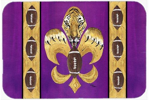 Caroline's Treasures Tiger Football Fleur De Lis Glass Cutting Board, Large, Multicolor