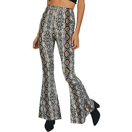 Women's Snakeskin Print Flare Pants Fashion High Waist Bell Bottom Palazzo Pants ()