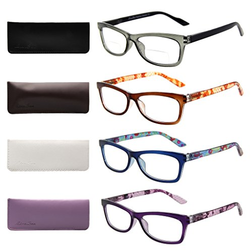 Liansan Designer Readers 4 Pairs Rectangular Plastic Frame Reading Glasses for Men and Women - Men For Older Glasses