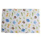 Dovewill Waterproof Changing Diaper Pad Cotton Washable Toddler Babies Urine Mat Nappy ( Pink Flower, Orange Zoo, White Zoo, White Transport, Blue Car ) - 1x White Zoo, as described