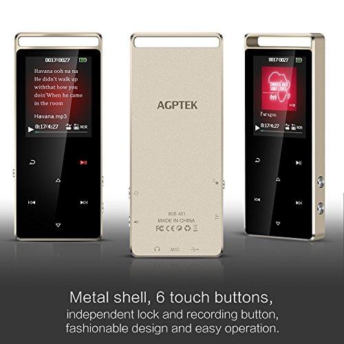 AGPtek 8 GB Deporte Reproductor de MP3 con FM Radio/grabadora de Voz, Sonido sin pérdidas Reproductor de música con Touch botón de Metal & Independiente ...