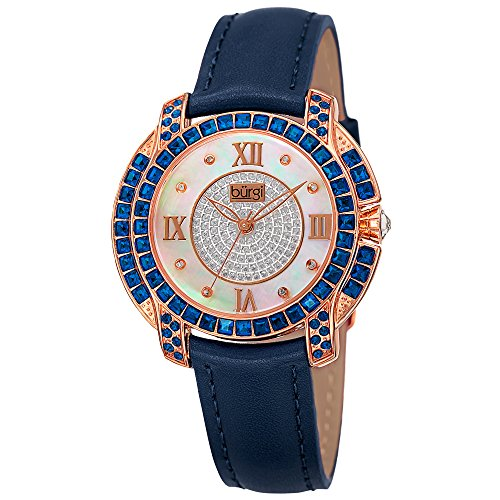 - Burgi Swarovski Crystal Women's Watch - Unique Diamond Hour Markers on Mother of Pearl Dial With Colored Swarovski Crystals On Genuine Leather Strap Watch - BUR156