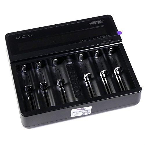 Efest LUC V6 Ladegerät für Lithium-Ionen-Akkus für e-Zigarette, 6 Ladeschächte, 1 Stück