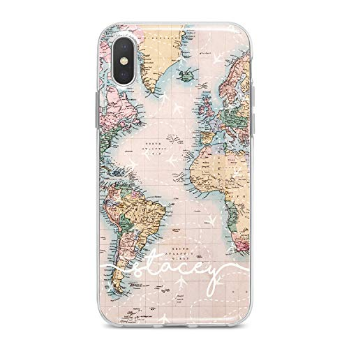 (Lex Altern TPU Case for iPhone Apple Xs Max Xr 10 X 8+ 7 6s 6 SE 5s 5 Flight Map Initial Simple White Name Pattern Cute Phone Cover Silicone)
