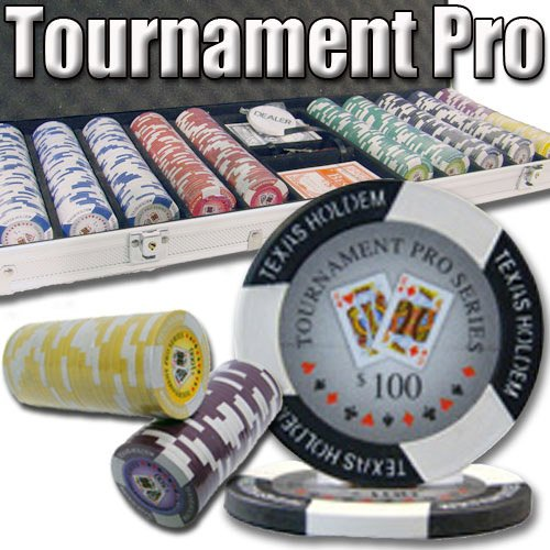 500 Count Tournament Pro Poker Set – 11.5 Gram Clay Composite Chips with Aluminum Case, Playing Cards, & Dealer Button for Texas Hold'em, Blackjack, & Casino Games by Brybelly - Clay Pro Poker Poker