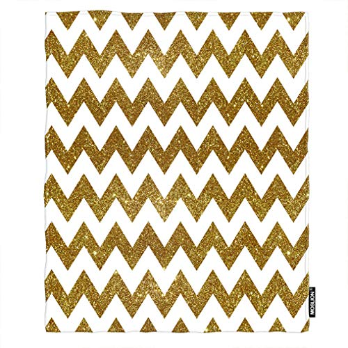 Moslion Soft Cozy Throw Blanket Gold and White Chevron Fuzzy Warm Couch/Bed Blanket for Adult/Youth Polyester 30 X 40 Inches(Home/Travel/Camping -