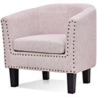Modern Tub Barrel Fabric Nailhead Accent Arm Chair - Beige