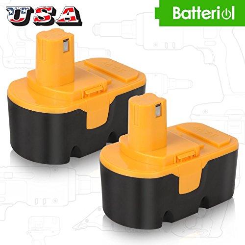 Ryobi 18V Battery, Batteriol 18V 3.0Ah Ni-MH Battery for Ryobi One Plus P100 P101 ABP1801 ABP1803 130224028 130224007 Cordless Power Tools - 2Pack