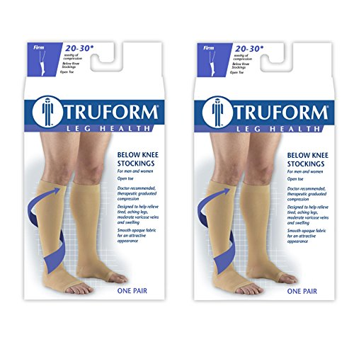 Truform Compression 20-30 mmHg Knee High Open Toe Stockings Beige, 3X-Large, 2 Count