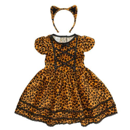 Koala Kids Toddler Girls Cat Costume Leopard Print Dress with Tail & Headband 2T Brown -