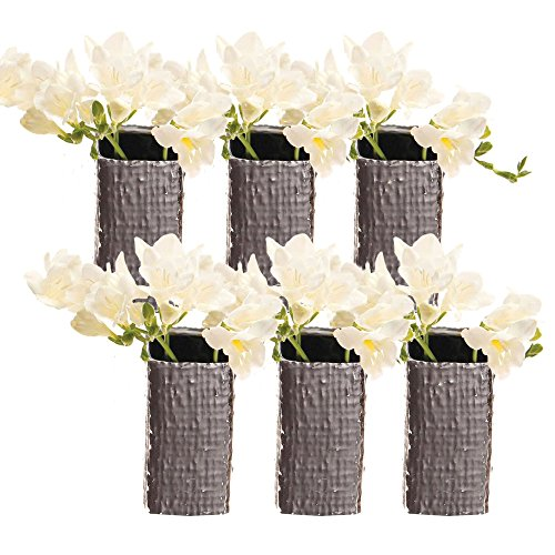Chive - Weave, Small Square Ceramic Bud Flower Vase, Decorative Floral Vase for Home Decor Living Room Centerpieces and Events - Bulk Set of 6 Metallic Finish (Antique Silver)