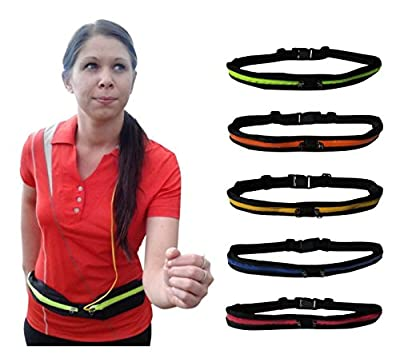 Runner Waist Pack is Slim, with 2 Expandable, Water Resistant Fabric Pockets, 1 for Your Phone, Other for Keys, Cards, Money