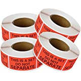 "2000 Labels, This Is A Set Do Not Separate Packaging Labels (1"" x 2""), Fluorescent Red FBA Label (4 Rolls Of 500 Labels) enKo Products"