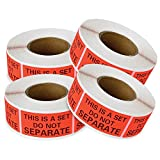 """2000 Labels, This Is A Set Do Not Separate Packaging Labels (1"""" x 2""""), Fluorescent Red FBA Label (4 Rolls Of 500 Labels) enKo Products"""