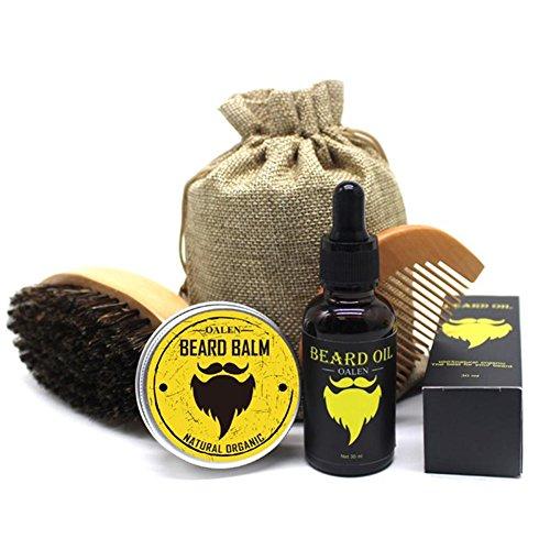 Suiez 4 in 1 Beard Care Grooming Kit for Men - Boar Bristle Beard Brush, Wooden Comb, Natural Beard Balm Butter Wax, Barber Mustache Trimming Scissors, Beard Shaping (Comb 4in Grooming 1)